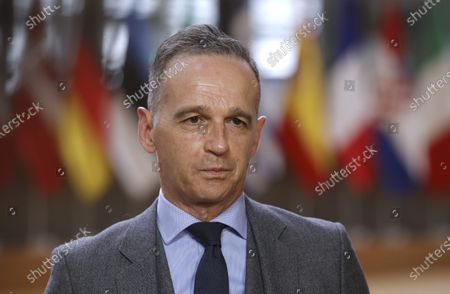 German Foreign Minister Heiko Maas speaks with the media as he arrives for a meeting of EU foreign ministers at the European Council building in Brussels, Belgium, 10 May 2021. EU foreign ministers meet in Brussels to discuss current affairs, tensions with Russia, the Western Balkans, transatlantic relations and Belarus.