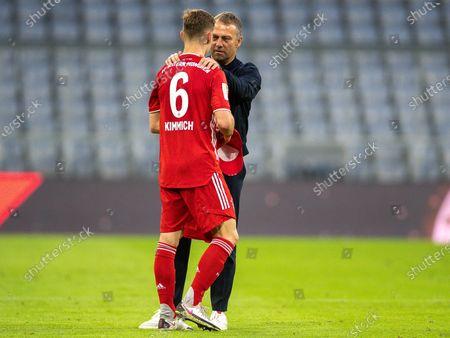 Stock Image of Joshua Kimmich (FC Bayern München, #06), Hansi Flick (FC Bayern München, head coach)