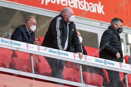 CEO Karl-Heinz Rummenigge (FC Bayern München), Honorary President Uli Hoeness (Bayern Munich), President Herbert Hainer (FC Bayern München) after the goal of 3:0