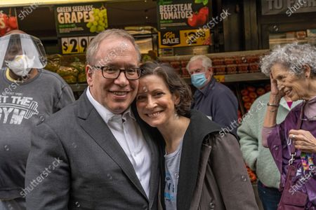 City Comptroller and mayoral candidate Scott Stringer and wife Elyse Buxbaum pose for a photo during a campaign stop on the Upper West Side in front of Fairway Market on 74 and Broadway in New York City.  Voters will go to the polls for the Primary on June 22.