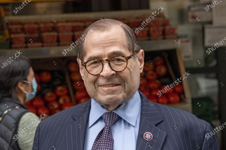 Congressmember Jerry Nadler attends Scott Stringer's campaign stop on the Upper West Side in front of Fairway Market on 74 and Broadway in New York City.  Voters will go to the polls for the Primary on June 22.