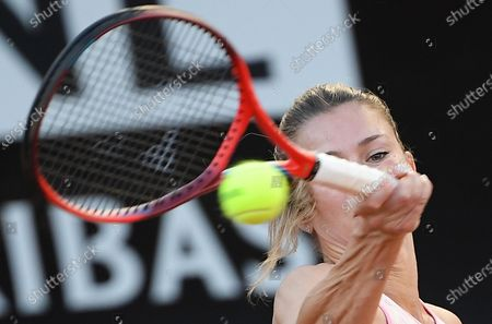 Camila Giorgi of Italy in action against Sara Sorribes Tormo of Spain during their women's singles first round match at the Italian Open tennis tournament in Rome, Italy, 10 May 2021.