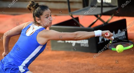 Stock Picture of Sara Sorribes Tormo of Spain in action against Camila Giorgi of Italy during their women's singles first round match at the Italian Open tennis tournament in Rome, Italy, 10 May 2021.