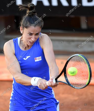 Stock Image of Sara Sorribes Tormo of Spain in action against Camila Giorgi of Italy during their women's singles first round match at the Italian Open tennis tournament in Rome, Italy, 10 May 2021.