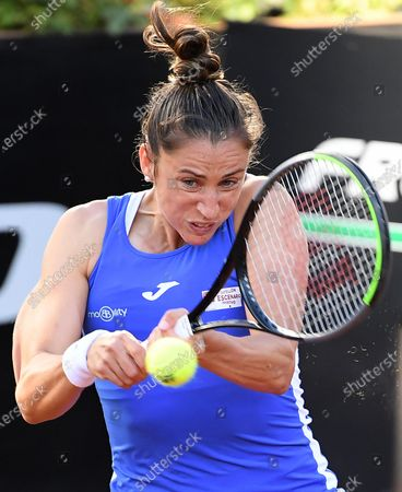 Sara Sorribes Tormo of Spain in action against Camila Giorgi of Italy during their women's singles first round match at the Italian Open tennis tournament in Rome, Italy, 10 May 2021.