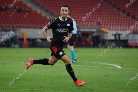 """PSV's Eran Zahavi celebrates his second goal against Olympiakos during a Europa League, round of 32, first leg soccer match, between Olympiacos and PVS at Georgios Karaiskakis stadium in Piraeus port, near Athens. The wife of PSV Eindhoven and Israel striker Eran Zahavi said Monday May 10, 2021, she was the victim of a """"horrifying experience"""" after two robbers, one of them armed, tied up and gagged her and her children in the couple's home in Amsterdam"""