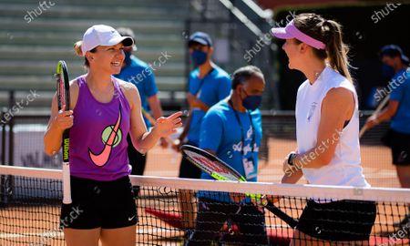Simona Halep of Romania & Elina Svitolina of the Ukraine during practice ahead of the 2021 Internazionali BNL d'Italia WTA 1000 tournament