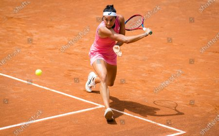 Caroline Garcia of France in action during her first-round match at the 2021 Internazionali BNL d'Italia WTA 1000 tournament
