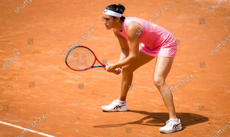 Stock Image of Caroline Garcia of France in action during her first-round match at the 2021 Internazionali BNL d'Italia WTA 1000 tournament
