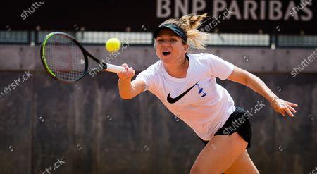 Simona Halep of Romania during practice at the 2021 Internazionali BNL d'Italia WTA 1000 tournament