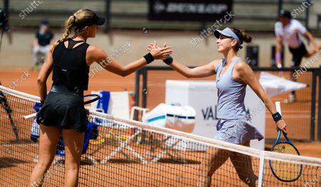 Kristina Mladenovic of France & Belinda Bencic of Switzerland after their first round match at the 2021 Internazionali BNL d'Italia WTA 1000 tournament