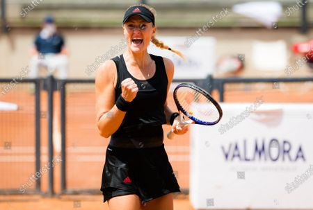 Kristina Mladenovic of France in action during herr first round match at the 2021 Internazionali BNL d'Italia WTA 1000 tournament
