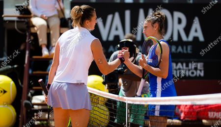 Aryna Sabalenka of Belarus & Sara Sorribes Tormo of Spain in action during the second round of the 2021 Internazionali BNL d'Italia WTA 1000 tournament