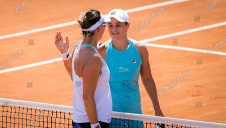 Yaroslava Shvedova of Kazakhstan & Ashleigh Barty of Australia at the net after the second round of the 2021 Internazionali BNL d'Italia WTA 1000 tournament
