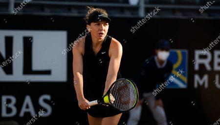 Simona Halep of Romania in action during the second round of the 2021 Internazionali BNL d'Italia WTA 1000 tournament
