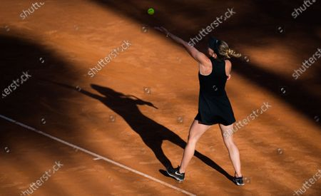Stock Image of Simona Halep of Romania in action during the second round of the 2021 Internazionali BNL d'Italia WTA 1000 tournament