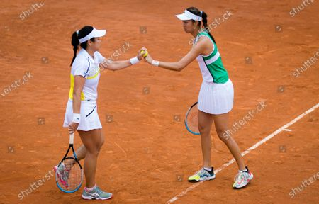 Latisha Chan & Hao-Ching Chan of Chinese Taipeh in action during the doubles quarter-final at the 2021 Internazionali BNL d'Italia WTA 1000 tournament