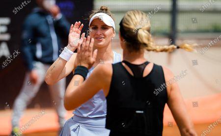 Kristina Mladenovic of France & Marketa Vondrousova of the Czech Republic in action during the doubles quarter-final at the 2021 Internazionali BNL d'Italia WTA 1000 tournament