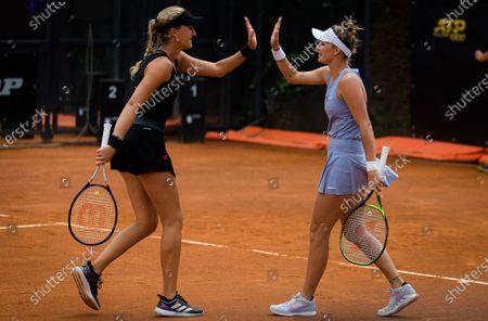 Stock Picture of Kristina Mladenovic of France & Marketa Vondrousova of the Czech Republic in action during the doubles quarter-final at the 2021 Internazionali BNL d'Italia WTA 1000 tournament