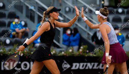 Stock Photo of Kristina Mladenovic of France & Marketa Vondrousova of the Czech Republic in action during the doubles final of the 2021 Internazionali BNL d'Italia WTA 1000 tournament
