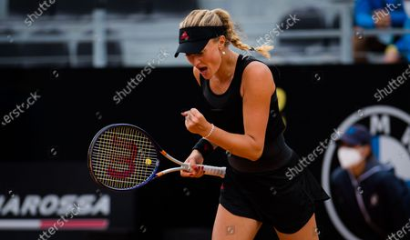 Kristina Mladenovic of France in action during the doubles final of the 2021 Internazionali BNL d'Italia WTA 1000 tournament