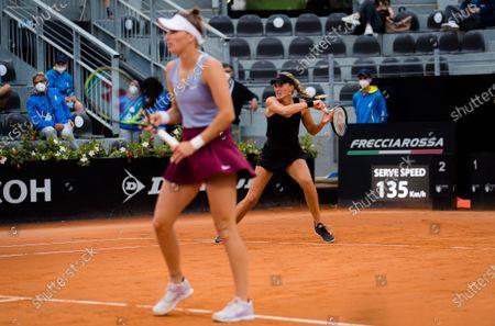 Stock Image of Kristina Mladenovic of France & Marketa Vondrousova of the Czech Republic in action during the doubles final of the 2021 Internazionali BNL d'Italia WTA 1000 tournament
