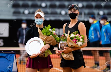 Marketa Vondrousova of the Czech Republic & Kristina Mladenovic of France with their runner up trophies after the doubles final of the 2021 Internazionali BNL d'Italia WTA 1000 tournament