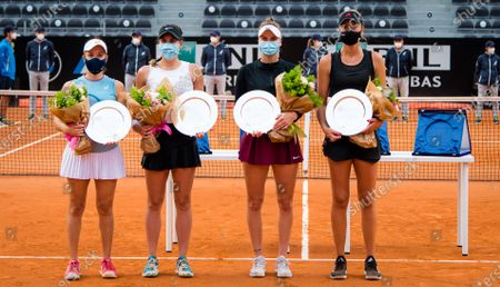 Giuliana Olmos of Mexico & Sharon Fichman of Canada and Marketa Vondrousova of the Czech Republic & Kristina Mladenovic of France with their trophies after the doubles final of the 2021 Internazionali BNL d'Italia WTA 1000 tournament
