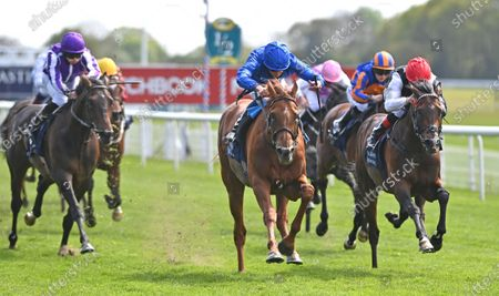 (C) Hurricane Lane (William Buick) wins The Al Basti Equiworld Dubai Dante Stakes from (R) Megallan (Martin Harley) and (L) High Definition (Ryan Moore).