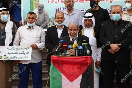 """Senior Hamas leader, Mahmoud Al-Zahar speaks during a press conference marking 73th anniversary of Nakba also known as Day of the Catastrophe in 1948, at Al-Shati refugee camp in the Gaza city on May 10, 2021.The """"Nakba"""" or catastrophe came this year with tensions mount between Israel and Palestinians in Jerusalem."""