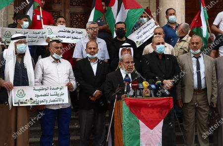 Editorial image of Senior Hamas leader, Mahmoud Al-Zahar speaks during a press conference marking 73th anniversary of Nakba also known as Day of the Catastrophe in 1948, Gaza city, Gaza Strip, Palestinian Territory - 10 May 2021