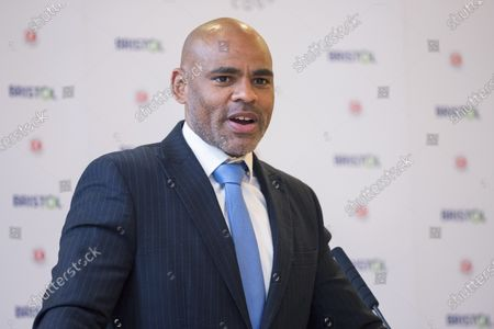 Stock Image of ; Bristol, UK. Bristol Mayor MARVIN REES gives a speech at his inauguration in City Hall after he was re-elected as the Mayor of Bristol for a second term.