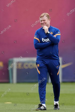 FC Barcelona's head coach Ronald Koeman leads the team's training session at the club's sport complex in Sant Joan Despi, in Barcelona, northeastern Spain, 10 May 2021. The team prepares its upcoming LaLiga game against Levante on 11 May.