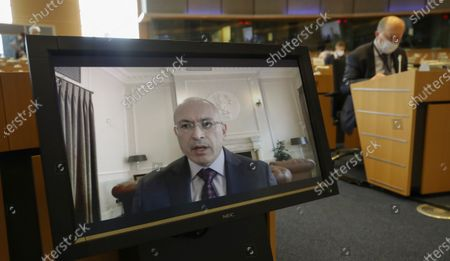 Exiled Russian businessman and Russian opposition Mikhail Khodorkovsky, speaks during a hearing by EU Parliament Committee on foreign interference in all democratic processes in the European Union, including Disinformation, in Brussels, Belgium, 10 May 2021.