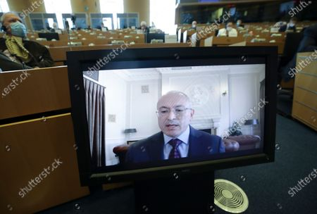 Stock Image of Exiled Russian businessman and Russian opposition Mikhail Khodorkovsky, speaks during a hearing by EU Parliament Committee on foreign interference in all democratic processes in the European Union, including Disinformation, in Brussels, Belgium, 10 May 2021.