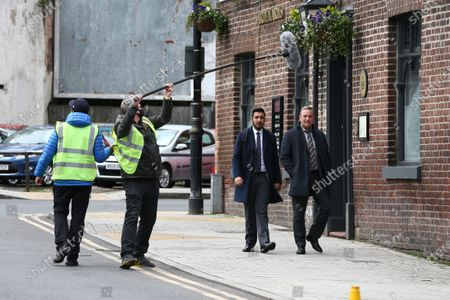 Michael Nardone, who plays D.I Neil McKinven in the BBC series Traces, filming on location in Stockport on Monday morning.