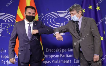 European Parliament President David Sassoli (R) welcomes North Macedonia's Prime Minister Zoran Zaev (L) prior to a meeting in Brussels, Belgium, 10 May 2021.