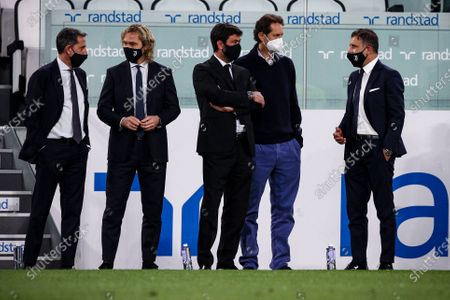 Juventus director Fabio Paratici, Juventus vice president Pavel Nedved, Juventus president Andrea Agnelli, Exor president John Philip Elkann and Juventus director Federico Cherubini look on during the Serie A football match n.35 JUVENTUS - MILAN on May 09, 2021 at the Allianz Stadium in Turin, Piedmont, Italy. Final result: Juventus-Milan 0-3. Sporting stadiums around Italy remain under strict restrictions due to the Coronavirus Pandemic as Government social distancing laws prohibit fans inside venues resulting in games being played behind closed doors.