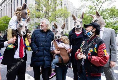 Musician Roger Waters (2-L) and actress Susan Sarandon (2-R) stand with other supporters of environmental attorney Steven Donziger in kangaroo masks as they gather outside of a US federal courthouse for a rally on the first day of a criminal contempt case against Donziger in New York, New York, USA, 10 May 2021. Donziger has been fighting legal battles brought against him in the United States by the oil company Chevron which came after a 2011 legal ruling in favor of Ecuadorian clients represented by Donziger in Ecuador that resulted in a 9.5 billion USD (7.9 billion Euro) judgement against Chevron for polluting. Donziger, who has been under house arrest for almost two years, and his legal team are claiming that the prosecution of the criminal contempt case against him is being handled in 'a vindictive and selective' manner and have claimed that the judge hearing the case is bias against him.