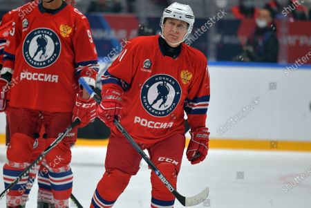 Russian President Vladimir Putin takes part in a gala match with the participation of Russian hockey legends as part of the final stage of the X All-Russian Night Hockey League festival in the 'Bolshoi' Ice Palac in Sochi, Russia, 10 May 2021.