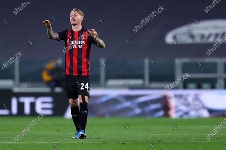Stock Image of Simon Kjaer of Ac Milan gestures during the Serie A match between Juventus Fc and Ac Milan.