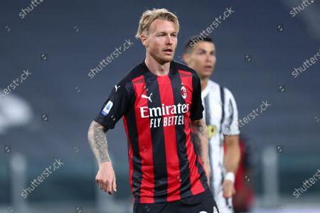 Simon Kjaer of Ac Milan looks on during the Serie A match between Juventus Fc and Ac Milan.