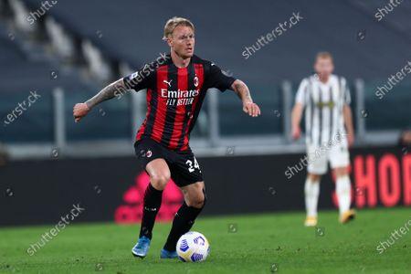 Simon Kjaer of Ac Milan in action during the Serie A match between Juventus Fc and Ac Milan.