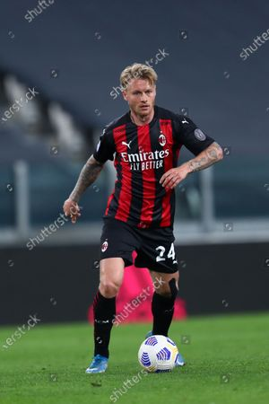 Stock Photo of Simon Kjaer of Ac Milan looks on during the Serie A match between Juventus Fc and Ac Milan.