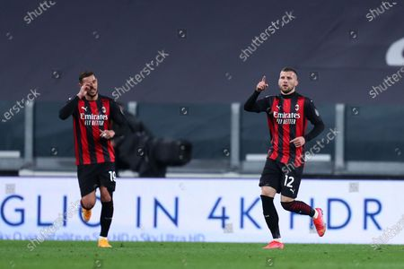 Stock Picture of Ante Rebic of Ac Milan celebrate after scoring a goal during the Serie A match between Juventus Fc and Ac Milan.