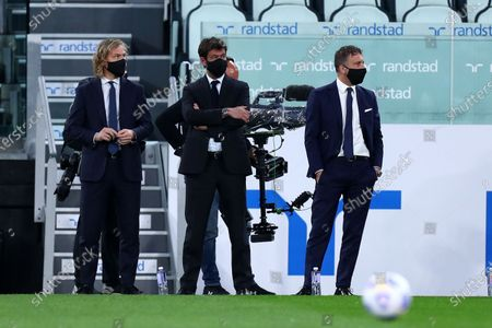 Andrea Agnelli president of Juventus Fc and Pavel Nedved the Serie A match between Juventus Fc and Ac Milan.