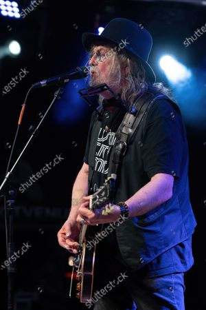 Stock Image of Ray Wylie Hubbard performs in concert at Haute Spot on April 7, 2021 in Cedar Park, Texas.