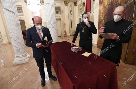 Teatro alla Scala Superintendent, French Dominique Meyer (L),wearing a face mask, in the foyer of the Teatro alla Scala to attend the concert directed by the musical director Riccardo Chailly that commemorates the 75th anniversary of the reopening of the Piermarini Hall after the years of the dictatorship, the II World War and the bombing with the historic concert directed by Arturo Toscanini on 11 May 1946, in Milan, Italy, 10 May 2021. Today's concert is the first event with the presence of audience since 19 October 2020. Only 500 tickets of the approximately 2000 seats were made available as required by current anti-covid legislation.