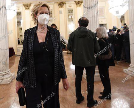Lombardy Health Counsellor Letizia Moratti, wearing face mask, enters the foyer of the Teatro alla Scala to attend the concert directed by the musical director Riccardo Chailly that commemorates the 75th anniversary of the reopening of the Piermarini Hall after the years of the dictatorship, the II World War and the bombing with the historic concert directed by Arturo Toscanini on 11 May 1946, in Milan, Italy, 10 May 2021. Today's concert is the first event with the presence of audience since 19 October 2020. Only 500 tickets of the approximately 2000 seats were made available as required by current anti-covid legislation.