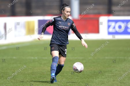 Lucy Bronze of Manchester City Women in action during WomenÕs Super League match between West Ham Women and Manchester City Women at The Chigwell Construction Stadium in London - 9th May 2021